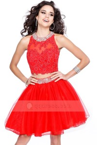 Short A-line Open Back Beaded Lace and Tulle Two Pieces Prom Party Dress