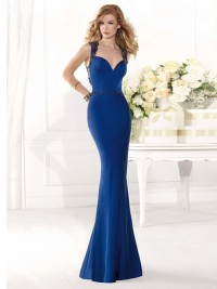 Trumpet Straps Sleeveless Lace Sweep/Brush Train Satin Formal Dress